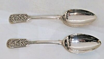 Chinese Export Silver Spoons Pair 1 Of 2 Identical Pairs Wang Hing Wh 90 C. 1900