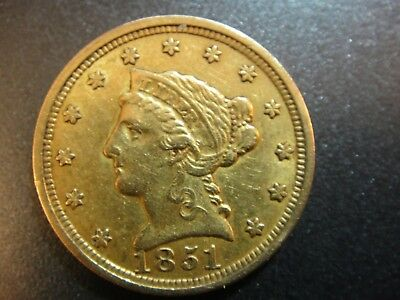 1851 United States Liberty Head $2.5 Gold Quarter Eagle. About Uncirculated.