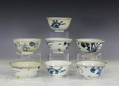 Great Lot Of 7 Antique Chinese Blue White Porcelain Bowls - Ming Dynasty