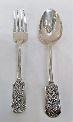 Chinese Export Silver, Serving Spoon And Fork Pair, Bamboo, Wh 90, C.1900