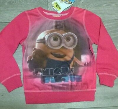 Girls soft pink sweat shirt top Despicable Me Minion Age  6 8 NEW Official