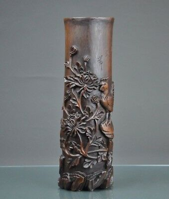 Antique Chinese Carved Wood Table Ornament W/ Calligraphy.