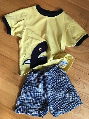 kellys kids 3-4 shark shirt with just ducky matching shorts 4T