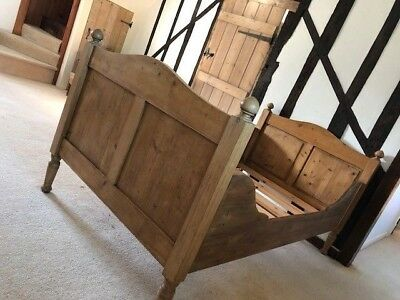 Beautiful pine sleigh bed - large single - antique