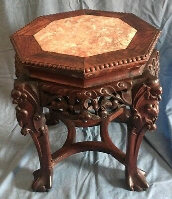 Antique Chinese Carved Wood & Inlaid Marble Octagonal Stand