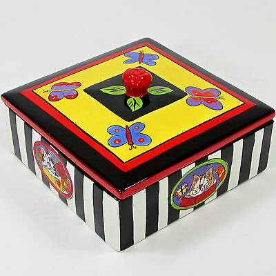 """Candace Reiter CATZILLA 7"""" Square Lidded Box Butterfly Black White Stripe Rose"""
