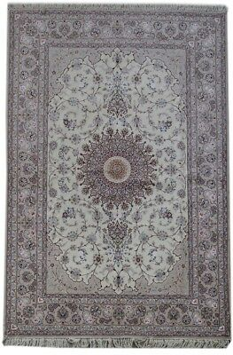 Hand-Knotted Ivory 7x10 High End Persian Isfahan Wool&Silk Rug