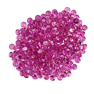 5 PIECES OF 2mm ROUND-FACET HYDROTHERMAL HOT-RED RUBY GEMSTONES