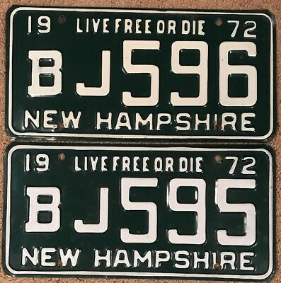 1972 NEW HAMPSHIRE License Plate Tags Pair 72 NH - YOM Clear BJ 595