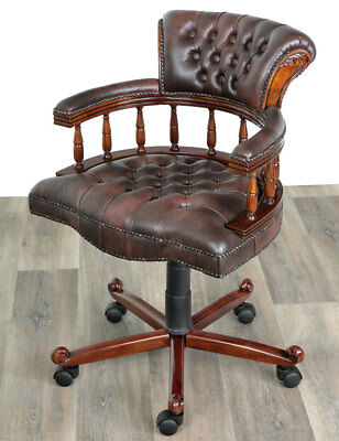 CAPTAIN´s CHAIR DREHSTUHL MAHAGONI DREHSESSEL FAUTEUIL de DIRECTION OFFICE CHAIR