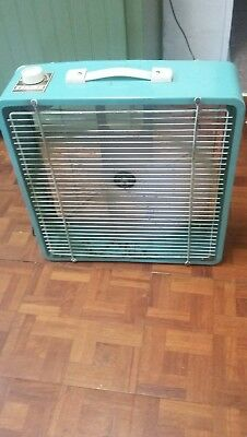 1960's Mcgraw Edison Company Eskimo Metal Box Fan Turquoise #16107 - 3 Speed