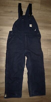 Men's CARHARTT FR Flame Resistant HRC-4 Blue Duck Bib Quilted Overalls 34 x 30