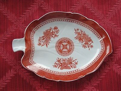 Spode Red Fitzhugh 7 inch Leaf Dish With tab handle -Excellent