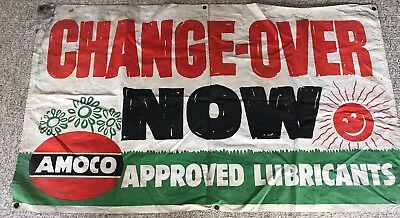 """VTG Amoco Gas/Oil Advertising Approved Lubricants """"CHANGE-OVER NOW"""" Banner Sign"""