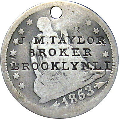 1850's Brooklyn New York Counterstamped Seated Quarter Taylor Broker Long Island