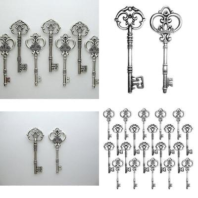 20 Set Skeleton Keys Antique Vintage Old Style Large Lock Key Large Lot Silver