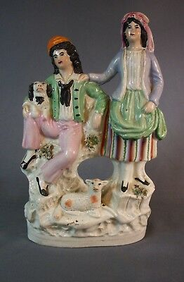 "Staffordshire Figure Group Lady & Gent With Spaniel And A Lamb 8 3/4"" Tall"