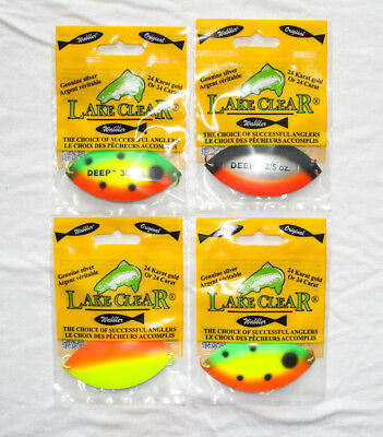 Lake Clear Wabbler Spoon Fishing Trolling - ASSORT. LOT OF 4 - NEW