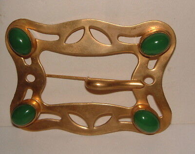 Antique Victorian Huge Gold Plated Belt Buckle Pin Brooch W Big Green Stones