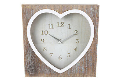 White Washed Natural Wooden Vintage Square Chic Heart Mantel Mantle /Wall Clock