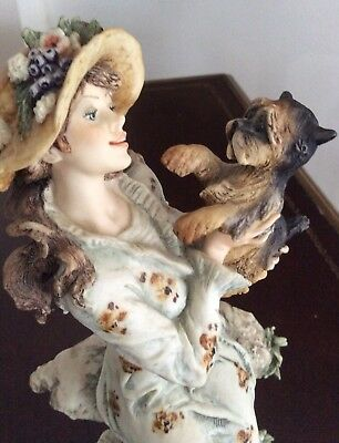 "Giuseppe Armani ""Lucia"" Young Lady With Terrier Mint Condition"