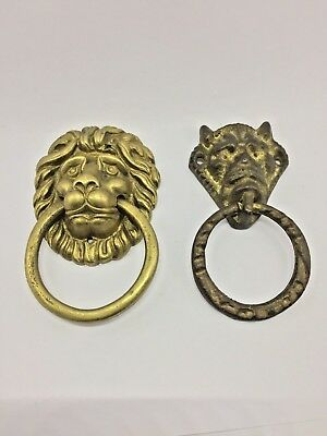 Vintage Heavy Copper Lion And Dragon Door Knocker Head Mask