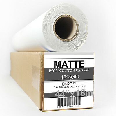 "INKJET PRINTING CANVAS, MATTE POLY-COTTON 420gsm 44""x18m roll"