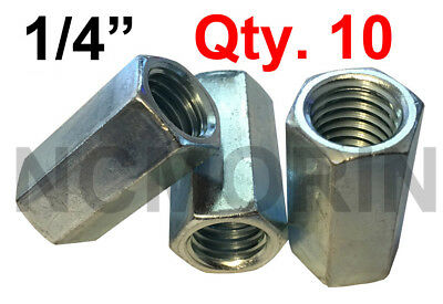 Qty 10 Hex Rod Coupling Nuts 1/4-20 x 7/8 Threaded Rod Connectors Zinc Coupler