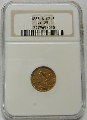 1863-S $2.50 Liberty Gold Quarter Eagle Graded VF25 by NGC Very Nice Rare Coin