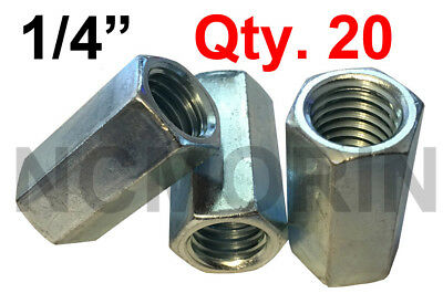 Qty 20 Hex Rod Coupling Nuts 1/4-20 x 7/8 Threaded Rod Connectors Zinc Coupler