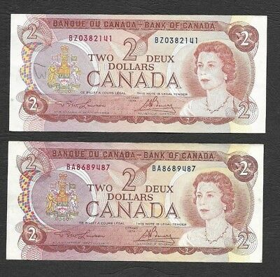 Lot of 1974 Bank of Canada $2 Lawson/Bouey BA and BZ Prefixes