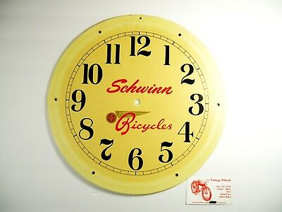 Vintage Schwinn Bicycles Off White Round Plastic Clock Face 13 3/4 Inch