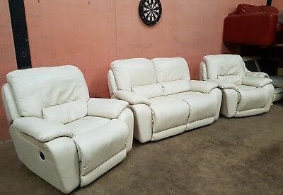 Dfs Leather Reclining Suite 2 Seater Sofa 2x Armchair Immaclean Wax Del