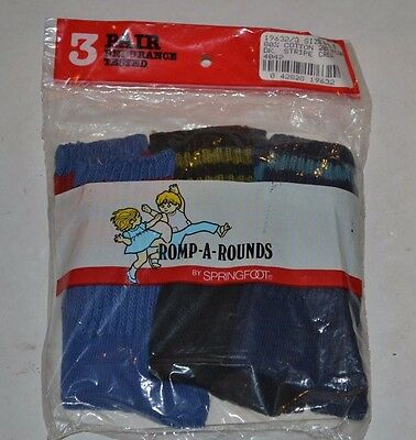 VINTAGE New Springfoot Romp-A-Rounds 3-Pack BOYS Striped Crew Socks sz 4-6.5