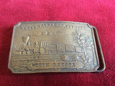 Vintage WELLS FARGO AND COMPANY SOUTH DAKOTA Brass Belt Buckle  1