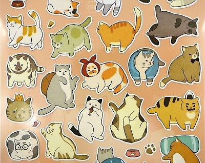 Japanese mochi cat stickers! Cubby cats, kawaii planner stickers, cute fat cats