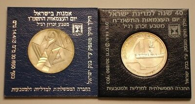 1986 & 1988 Silver new sheqel of Israel GEM BU Art & Independence Day