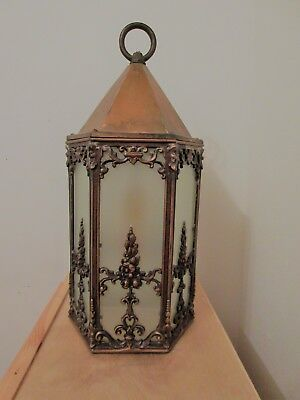 Vintage Brass And Cooper porch or gate light with frosted glass