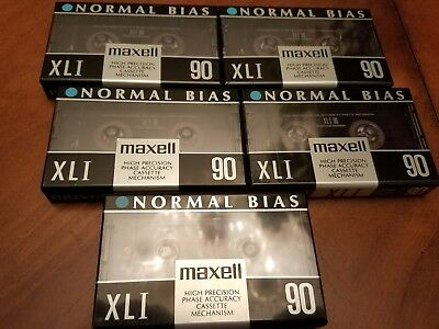 Set of 5 New Sealed Maxell XLI 90 Cassette Tape Made in Japan High Precision FS