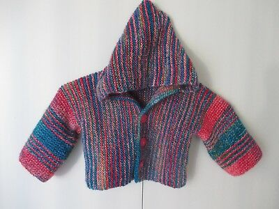 New Hand Knitted Striped Jacket with Hood to fit Girl or Boy 12 months Sweater