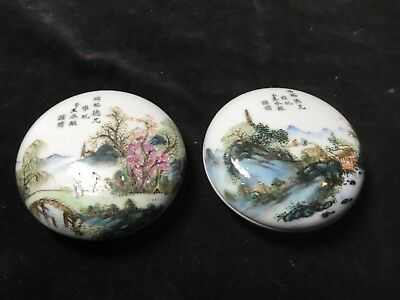 Pair antique Chinese porcelain ink seal paste boxes superbly painted signed poem