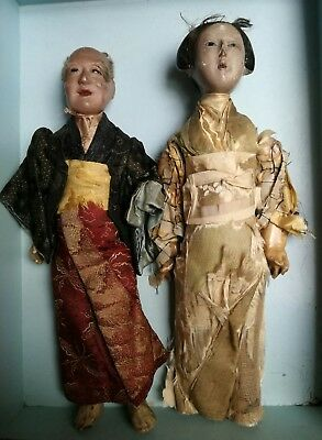 2 Antique Oriental Dressed Chinese/japanese Dolls Man & Woman (Gofun Ichimatsu?)