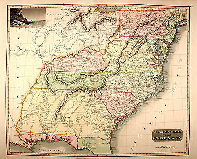 Southern Provinces of the United States Thompson Original 1814 USA Südstaaten