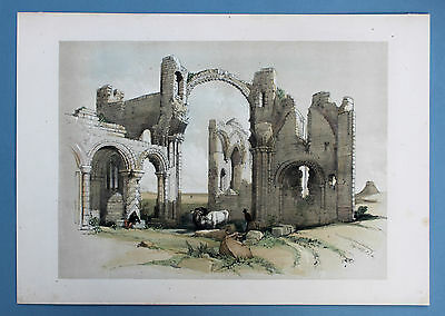 Remains of Holy Island Cathedral Ansicht Original Tonlithografie 1827 Harding
