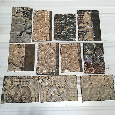 "11pc Lot of  6"" + misc sizes Antique Ceiling Tin Vintage Reclaimed Salvage Art"