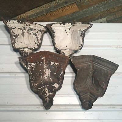 """4pc Set matching corners 9"""" Antique Ceiling Tin Vintage Reclaimed Salvage Art"""