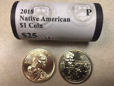 ~H/t~ 2018 P Bu Sacagawea / Jim Thorpe Native American Gold $25 Dollar Roll