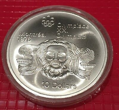 Montreal 1976 Summer XXI Olympic 10 Dollar Sterling Silver Canadian Coin in case