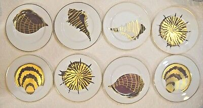 Fitz & Floyd Vtg Set of 8 Coquilles Combinees Seashell Sea Shell Pattern Plates