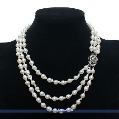 eaa8e1b4c0013c New 3 Strands Natural White Saltwater Akoya Keshi Pearl Necklace Fancy Cl |  FJUS